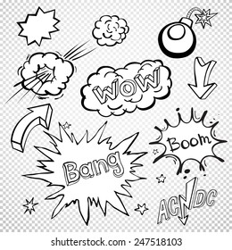 BLANK Comic speech bubbles set