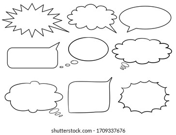 Blank Comics speech bubbles set with different shapes. Many kinds of black frame isolated on white background. Vector illustration. Infographic design with communication clouds.