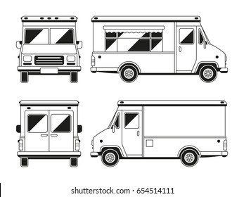 Blank commercial food truck in different points of view. Outline vector template for you advertising. Vehicle van for retail street illustration