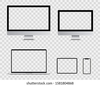 Blank Computer monitor, smartphone, laptop and tablet pc screen design. Mobile phone smart digital device set collection. vector illustration isolated on transparent background.