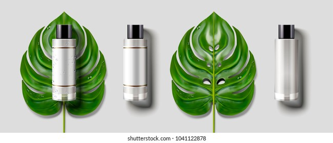 Blank cosmetic bottle set, green tropical leaves with container mockup in 3d illustration, light grey background