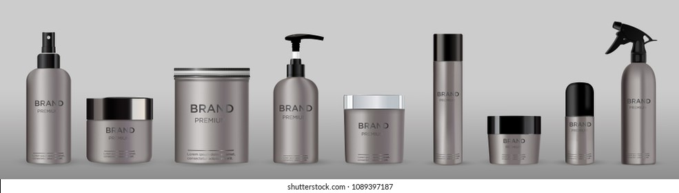 Blank cosmetic package metal mockup isolated on grey background set.  Metal tube for foam hear styling, hair spray, deodorant, creme.  Mock up vector illustration. Black and silver cap.