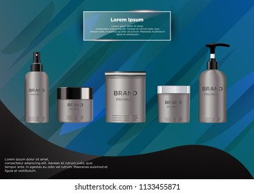 Blank cosmetic package metal mockup isolated on grey background.  Metal tube for foam hear styling, hair spray, deodorant, creme.  Mock up vector illustration. Black and silver cap. Isolated on abstra