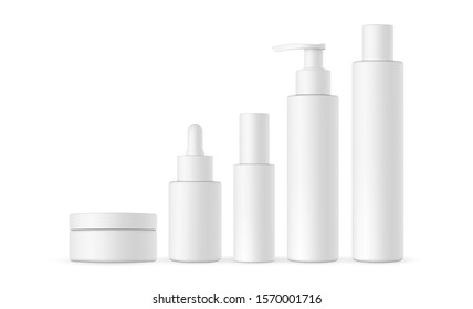 Blank cosmetic packaging mock up: jar, dropper, bottle with press pump, small and high bottles. Vector illustration