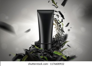 Blank cosmetic plastic tube in 3d illustration with crushed carbons and leaves on bokeh background