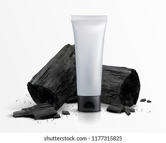 Blank cosmetic plastic tube with charcoal in 3d illustration, white background