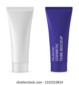 Blank cosmetic tube mockup isolated on white background. Package design cosmetic products. Plastic white realistic tube for cosmetics cream, gel, skin care, toothpaste. White realistic tube front view