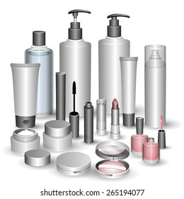 Blank cosmetic tubes isolated on white background. Shampoo, hair conditioner, toner, mist, cream, foundation, foam cleanser, mascara, nail polish, lipstick, compact powder. Place for your text. Vector