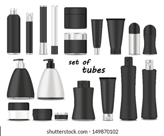 Blank cosmetic tubes  on white background. Black and silver colors. Place for your text. Vector
