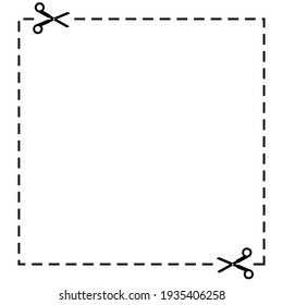 Blank coupon with scissors and dotted cut lines. Vector illustration isolated on white background.