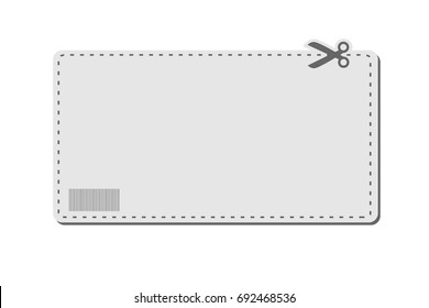 Blank coupon template with barcode, dotted line and scissors