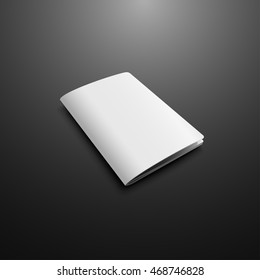 Blank Cover Of Passport, Magazine, Book, Booklet, Brochure, Leaflet. Illustration Isolated On Dark Background. Mock Up Template Ready For Your Design. Vector EPS10.