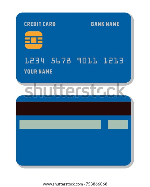 Blank Credit Card Template Flat Style Stock Vector