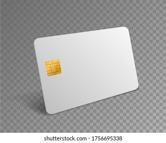Blank credit card. White realistic atm card for shopping payments with gold chip mockup. Banking debit plastic isolated 3d vector design template