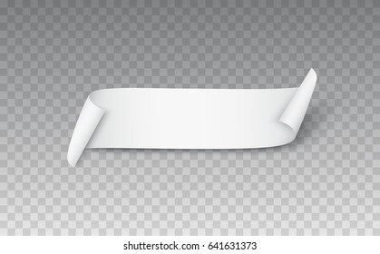 Blank curled fabric ribbon or paper scroll with shadow isolated on transparent background. Turn paper sticker, label, tag with flip edge. Empty vector web banner for your advertising design.