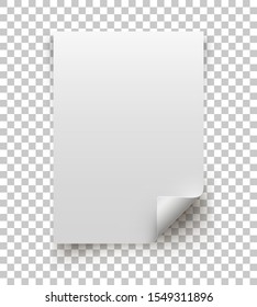 Blank Curled Page isolated on Transparent background