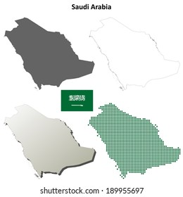 Blank detailed outline maps of Saudi Arabia - vector version