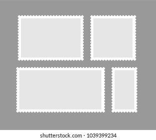 Blank different proportion postmark set. Vector illustration.