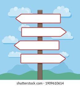 Blank direction signs with landscape in background. Vector illustration.
