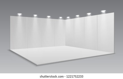 Blank display exhibition stand. White empty panels, promotional advertising stand. Presentation event room 3d template
