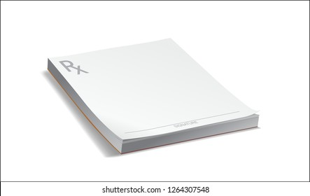 Blank doctor's Rx pharmacy Prescription Pad isolated on white with shadow ready for physician's signature and drug treatment remedy