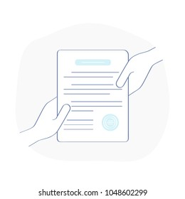 Blank, document with stamp that is held by two people hands at a time. Transfer of rights, agreement, contract, open access, consent, compliance, convention or deal icon. Flat outline symbol concept.