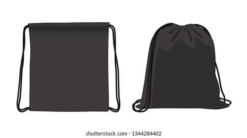 Blank drawstring bag, balck foldable backpack, cloth bag, vector illustration sketch template
