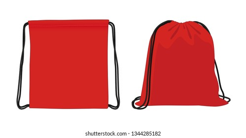 Blank drawstring bag, red foldable backpack, cloth bag, vector illustration sketch template