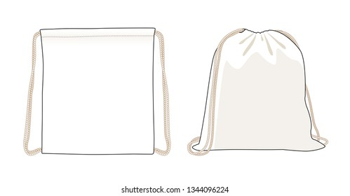 Blank drawstring bag, white foldable backpack, cloth bag, vector illustration sketch template