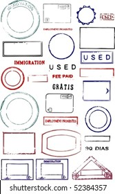 Blank editable vector graphic passport stamps