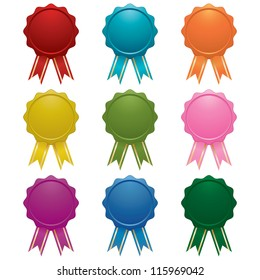 blank emblems with ribbons isolated on white