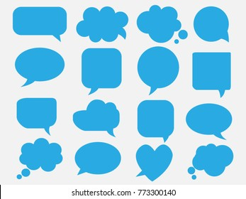 Blank empty blue speech bubbles