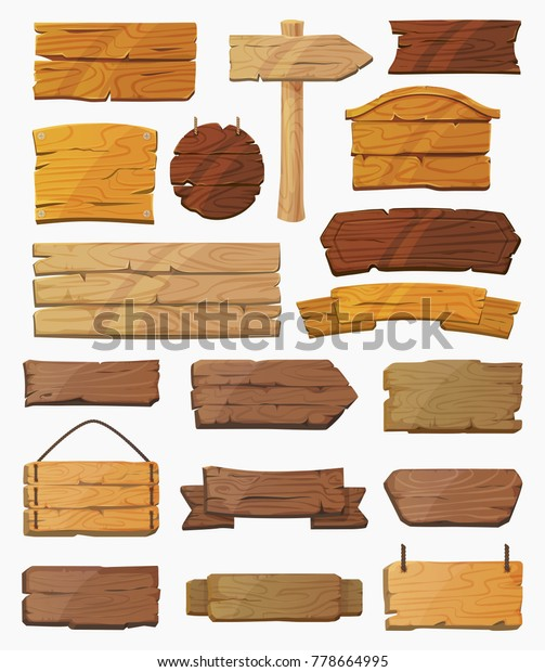 Blank or empty, clear isolated wooden planks or signboards. Set of vintage or old, retro banners with nails. Signs for messages or pointers with arrow for pathfinding. Signpost at desert, information