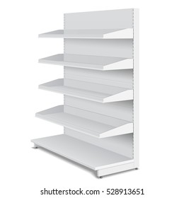 Blank Empty Double Sided Showcase Displays With Retail Shelves, Trading Rack. Mock Up, Template. Illustration Isolated On White Background. Ready For Your Design. Product Advertising. Vector EPS10.