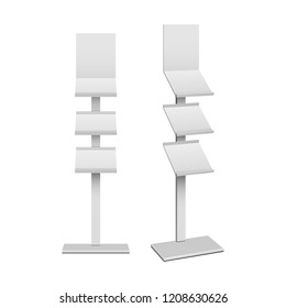 Blank Empty Show Box Holder For Fliers, LeafletsRetail. Shelves Floor Display Rack For Supermarket, Bank. Mock Up. 3D On White Background Isolated. Ready For Your Design. Product Advertising. Vector