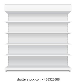 Blank Empty Showcase Display With Retail Shelves. Front View 3D. Illustration Isolated On White Background. Mock Up Template Ready For Your Design. Product Packing Vector EPS10