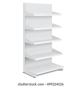 Blank Empty Showcase Display With Retail Shelves, Trading Rack. Mock Up, Template. Illustration Isolated On White Background. Ready For Your Design. Product Advertising. Vector EPS10.
