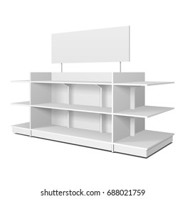 Blank Empty Showcase Displays With Retail Shelves, Trading Rack. Mock Up, Template. Illustration Isolated On White Background. Ready For Your Design. Product Advertising. Vector EPS10.