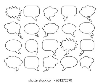 Blank empty speech bubbles for infographics. Black and white clipart. Vector illustration. Isolated on white background. Set