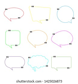 Blank Empty Speech Bubbles with punctuation marks. Different shapes. Vector