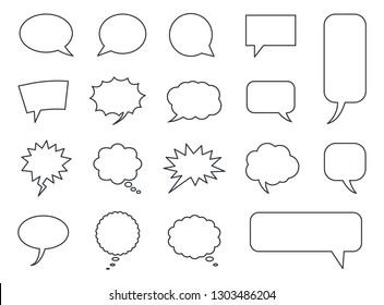 Blank empty speech bubbles set in vector