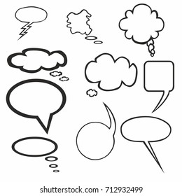 Blank empty white speech bubble icon comic cartoon vector
