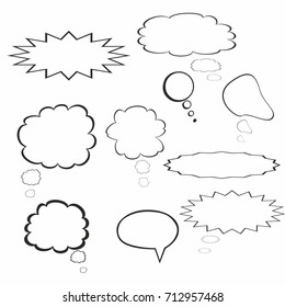 Blank empty white speech bubble cartoon icon vector