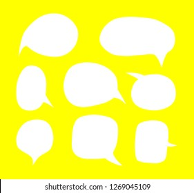 Blank empty white speech bubbles set. Vector illustration