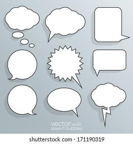 Blank Empty White Speech Bubbles - EPS10