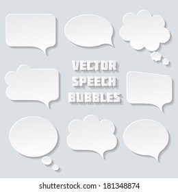 Blank empty white speech bubbles paper collection set  isolated on grey background. Vector illustration