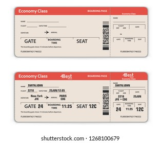 Blank and Filled in Airport Boarding Pass Template. Travel Concept. Vector Illustration.
