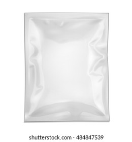 Blank Filled Retort Foil Flexible Pouch Bag Packaging. For Medicine Drugs Or Food Product. Illustration Isolated On White Background. Mock Up Template Ready For Your Design. Vector EPS10