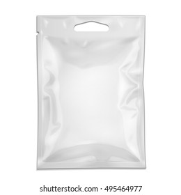 Blank Filled Retort Foil Pouch Bag Packaging With Zipper, Hang Slot. Medicine Drugs Or Food Product. Illustration Isolated On White Background. Mock Up Template Ready For Your Design. Vector