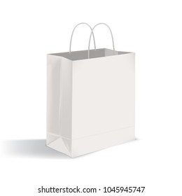 Blank flat bottom takeout bag with twisted handles. Clean paper packaging isolated on white background. Mock-up. Realistic vector illustration for advertisement, company identity representation.